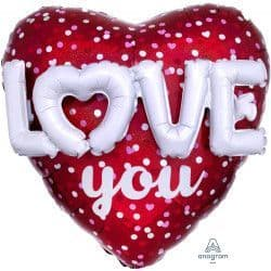 """Anagram P70 Multi Balloon Shape Hearts & Holo Dots Love You Packaged 36""""x36"""""""