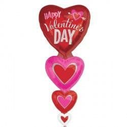 Anagram P70 Multi Balloon Vertical Hearts Valentine's Packaged