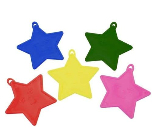 Assorted Primary Star Shape Balloon Weights 50 Pack