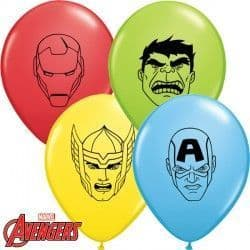 """AVENGERS ASSEMBLE FACES 5"""" RED, YELLOW, PALE BLUE & LIME GREEN (100CT)"""