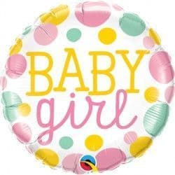 """BABY GIRL DOTS 18"""" PKT"""