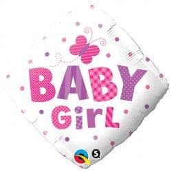 """BABY GIRL DOTS & DRAGONFLY 18"""" PKT"""