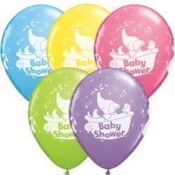 """BABY SHOWER ELEPHANT 11"""" PALE BLUE, YELLOW, ROSE, SPRING LILAC & LIME GREEN (25CT)"""