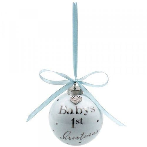 babys first bauble in blue