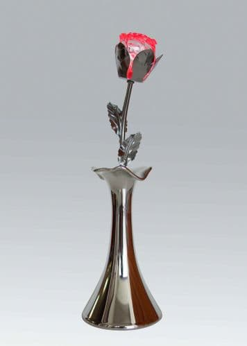 Battery operated colour changing LED acylic rose with chrome base