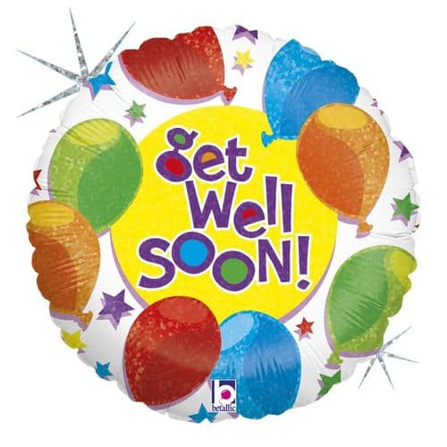 "Betallic 9"" Balloons & Stars Get Well Flat (REQUIRES HEATSEALING)"
