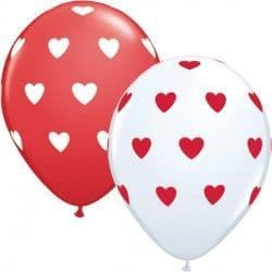 "BIG HEARTS 11"" WHITE & RED (50CT)"