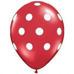 """BIG POLKA DOTS 11"""" RED WITH WHITE INK (25CT)"""