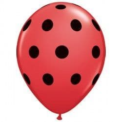 """BIG POLKA DOTS 5"""" RED WITH BLACK INK (100CT)"""