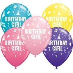 "BIRTHDAY GIRL 11"" PINK, YELLOW, ROSE, PURPLE VIOLET & TROPICAL TEAL (25CT)"