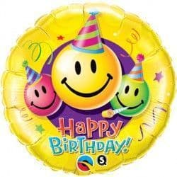 "BIRTHDAY SMILEY FACES 18"" PKT"