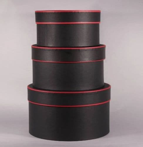 Black and Red Round Hat Boxes Set of 3 (BLACK)
