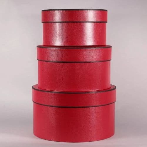 Black and Red Round Hat Boxes Set of 3 (RED)