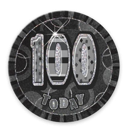 """BLACK/SILVER """"100"""" TODAY PRISM AGE BIRTHDAY BADGES"""