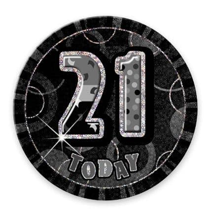 """BLACK/SILVER """"21"""" TODAY PRISM AGE BIRTHDAY BADGES"""