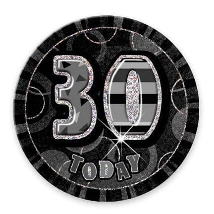 """BLACK/SILVER """"30"""" TODAY PRISM AGE BIRTHDAY BADGES"""