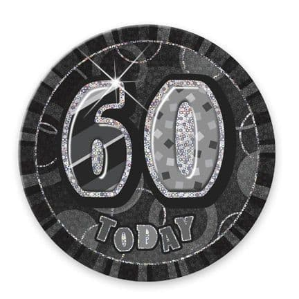 """BLACK/SILVER """"60"""" TODAY PRISM AGE BIRTHDAY BADGES"""