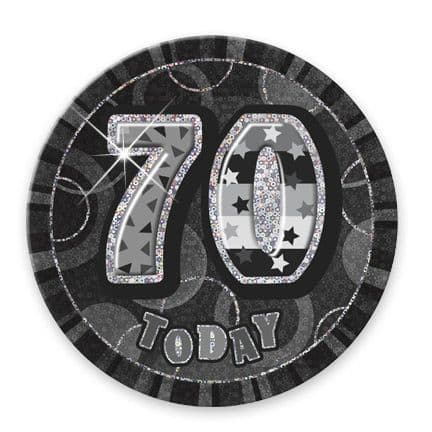 """BLACK/SILVER """"70"""" TODAY PRISM AGE BIRTHDAY BADGES"""