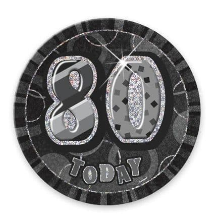 """BLACK/SILVER """"80"""" TODAY PRISM AGE BIRTHDAY BADGES"""