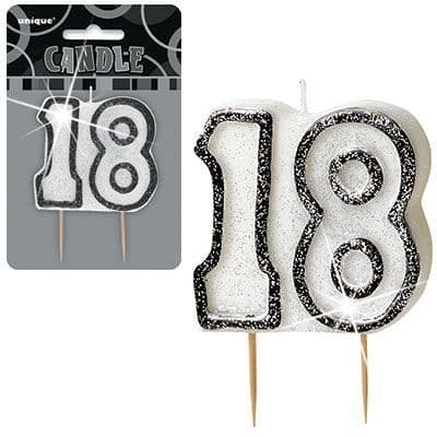 """BLACK/SILVER  NUMERAL """"18"""" GLITTER NUMERAL AGE BIRTHDAY CANDLES"""