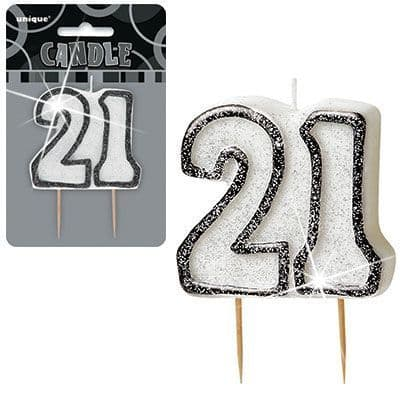 """BLACK/SILVER  NUMERAL """"21"""" GLITTER NUMERAL AGE BIRTHDAY CANDLES"""