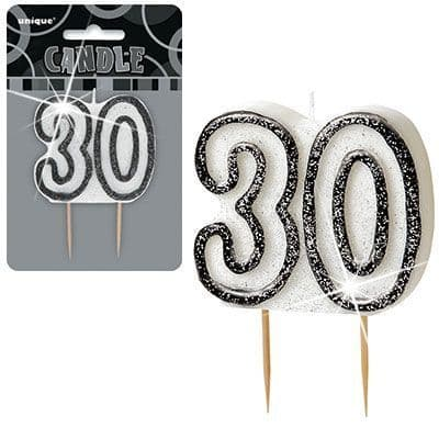 """BLACK/SILVER  NUMERAL """"30"""" GLITTER NUMERAL AGE BIRTHDAY CANDLES"""