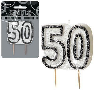 """BLACK/SILVER NUMERAL """"50"""" GLITTER NUMERAL AGE BIRTHDAY CANDLES"""