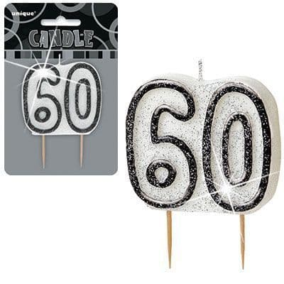 """BLACK/SILVER  NUMERAL """"60"""" GLITTER NUMERAL AGE BIRTHDAY CANDLES"""