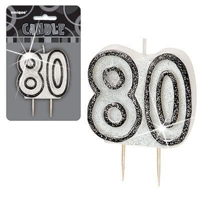 """BLACK/SILVER  NUMERAL """"80"""" GLITTER NUMERAL AGE BIRTHDAY CANDLES"""
