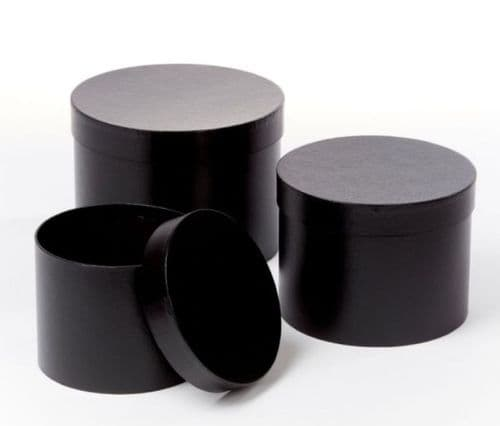 Black Symphony Hat Boxes (Lined) - Set of 3 Preorder