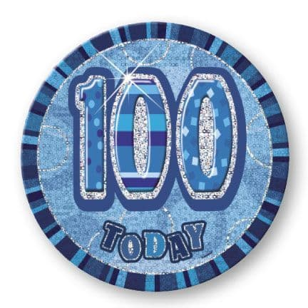 """BLUE """"100"""" TODAY PRISM AGE BIRTHDAY BADGES"""