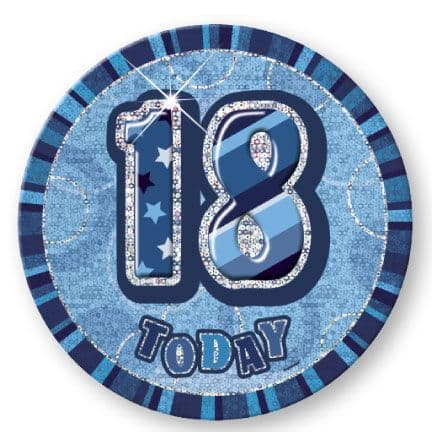 """BLUE """"18"""" TODAY PRISM AGE BIRTHDAY BADGES"""