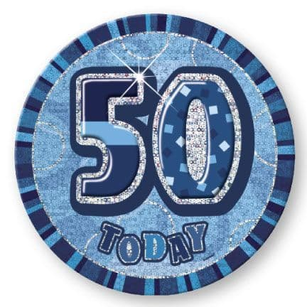 """BLUE """"50"""" TODAY PRISM AGE BIRTHDAY BADGES"""