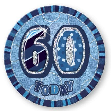 """BLUE """"60"""" TODAY PRISM AGE BIRTHDAY BADGES"""