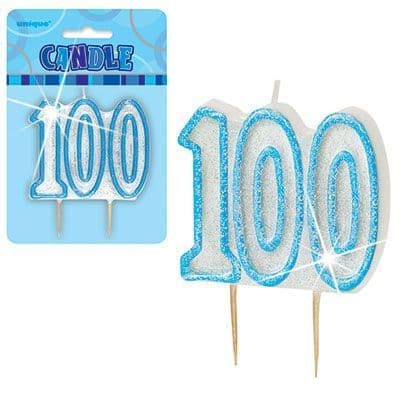 """BLUE NUMERAL """"100"""" GLITTER NUMERAL AGE BIRTHDAY CANDLES"""