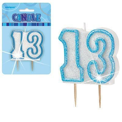 """BLUE NUMERAL """"13"""" GLITTER NUMERAL AGE BIRTHDAY CANDLES"""