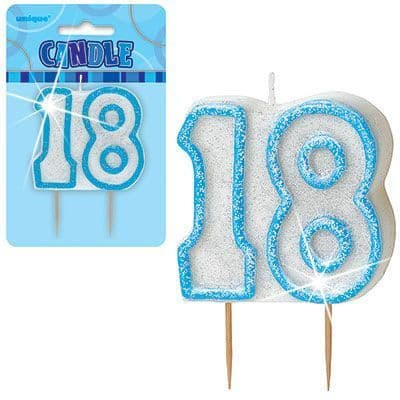 """BLUE NUMERAL """"18"""" GLITTER NUMERAL AGE BIRTHDAY CANDLES"""