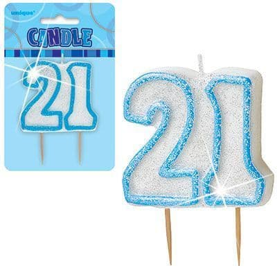 """BLUE NUMERAL """"21"""" GLITTER NUMERAL AGE BIRTHDAY CANDLES"""