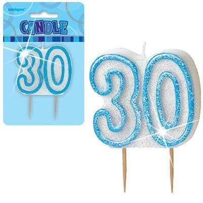 """BLUE NUMERAL """"30"""" GLITTER NUMERAL AGE BIRTHDAY CANDLES"""