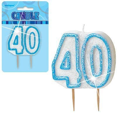 """BLUE NUMERAL """"40"""" GLITTER NUMERAL AGE BIRTHDAY CANDLES"""