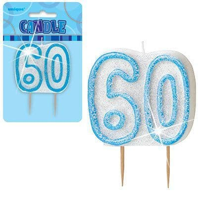 """BLUE NUMERAL """"60"""" GLITTER NUMERAL AGE BIRTHDAY CANDLES"""