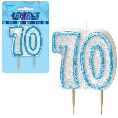 """BLUE NUMERAL """"70"""" GLITTER NUMERAL AGE BIRTHDAY CANDLES"""