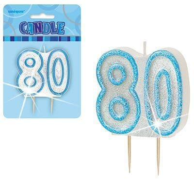 """BLUE NUMERAL """"80"""" GLITTER NUMERAL AGE BIRTHDAY CANDLES"""