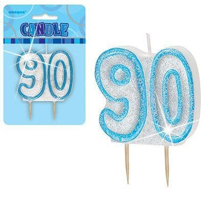 """BLUE NUMERAL """"90"""" GLITTER NUMERAL AGE BIRTHDAY CANDLES"""