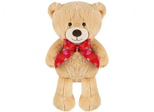 BROWN BEAR WITH HEART RIBBON 25CM