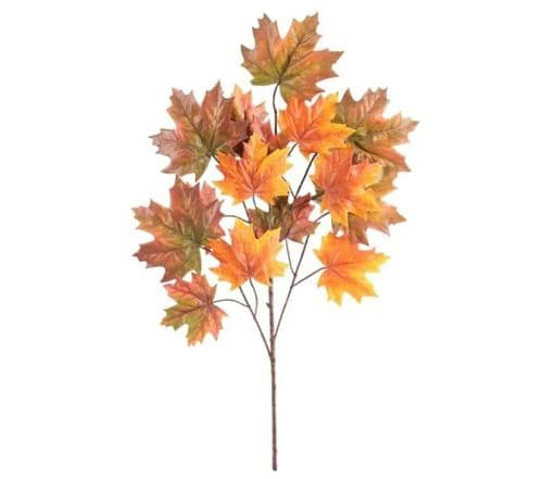 Canada Maple Leaf Spray x15 Leaves Dk Orange - 70cm