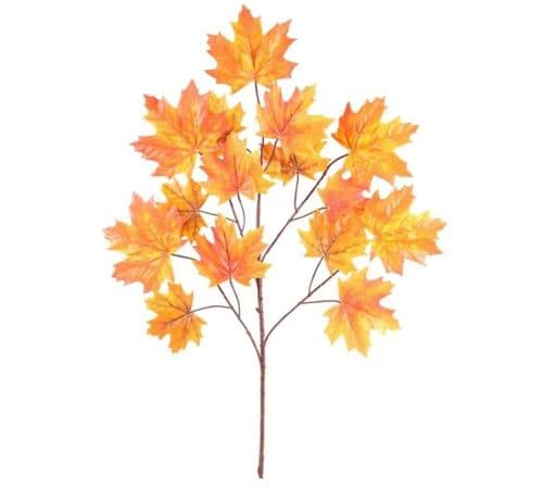 Canada Maple Leaf Spray x15 Leaves Lt Orange - 70cm