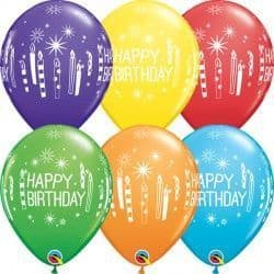 "CANDLES & STARBURSTS BIRTHDAY 11"" RAINBOW ASSORTED (25CT)"