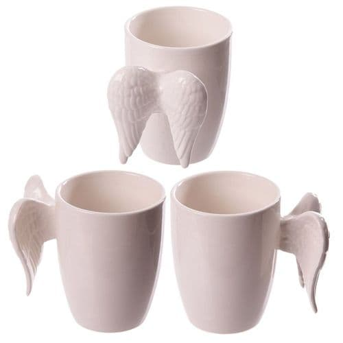 Ceramic Angel Mug with Wings Handle in White Gift