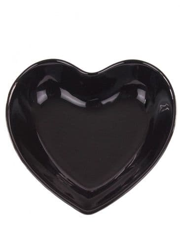 CERAMIC HEART BOWL GLAZED BLACK